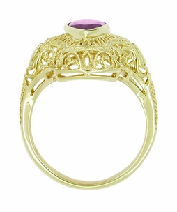 Art Deco Amethyst Filigree Cocktail Ring in 14 Karat Gold - Click to enlarge