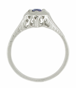 Art Deco Filigree Sapphire Ring in 14 Karat White Gold - Item R363 - Image 1