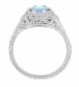 Art Deco Filigree Flowers Blue Topaz Promise Ring in Sterling Silver - Item SSR706BT - Image 2