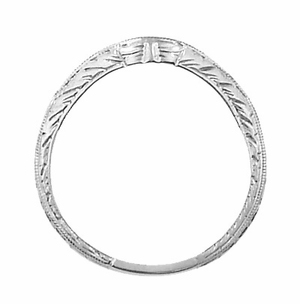 Art Deco Engraved Wheat Curved Diamond Wedding Band in 18 Karat White Gold - Click to enlarge