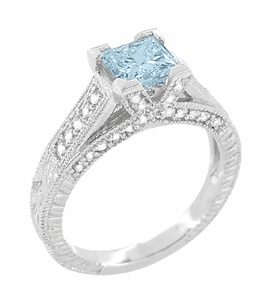 X & O Kisses 1 Carat Princess Cut Aquamarine Engagement Ring in Platinum - Item R701PA - Image 1