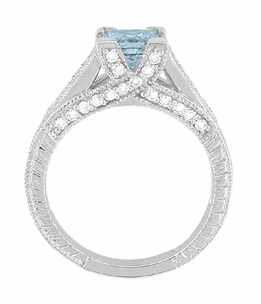 X & O Kisses 1 Carat Princess Cut Aquamarine Engagement Ring in Platinum - Item R701PA - Image 4
