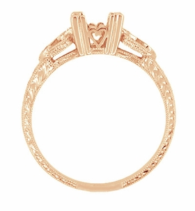 Loving Hearts 1/2 Carat Princess Cut Diamond Engraved Antique Style Engagement Ring Setting in 14 Karat Rose ( Pink ) Gold - Click to enlarge