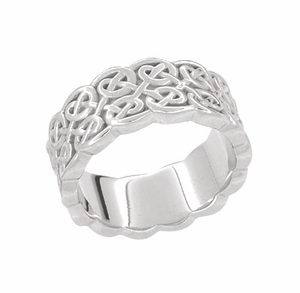 Renaissance Wide Wedding Band Ring in 14 Karat White Gold - Click to enlarge