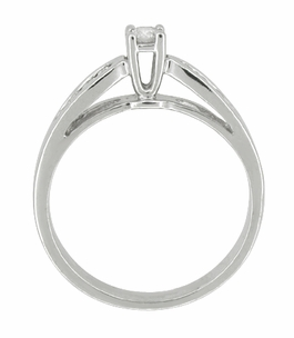 Solitaire Vintage Engagement Ring with Channel Set Diamond Shoulders in 10 Karat White Gold - Click to enlarge