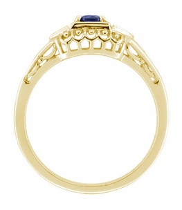 Art Deco Blue Sapphire and Diamond Filigree Engagement Ring in 14 Karat Yellow Gold - Item R228Y - Image 1