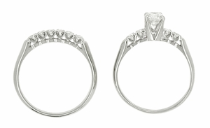 Mid Century Diamond Vintage Wedding Set in 14 Karat White Gold - Click to enlarge