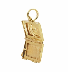 Vintage Moveable Opening Camera Locket Charm in 14 Karat Yellow Gold - Click to enlarge