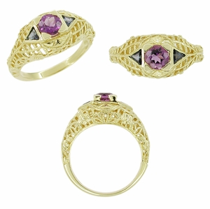 Art Deco Amethyst and Sapphire Filigree Ring in 14 Karat Yellow Gold - Click to enlarge