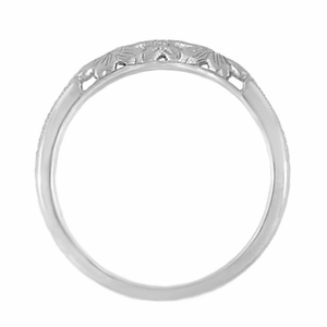 Art Deco Flowers and Wheat Engraved Filigree Wedding Band in Sterling Silver - Click to enlarge