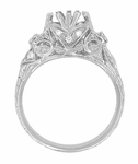 Edwardian Antique Style 1 Carat Filigree Engagement Ring Mounting in 18 Karat White Gold