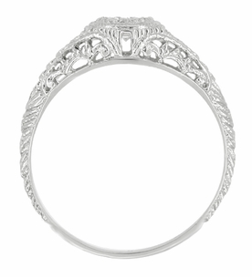 Art Deco Engraved Filigree Diamond and Sapphire Engagement Ring in 14 Karat White Gold - Item R464S - Image 1