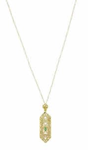 Art Deco Filigree Emerald Lavalier Pendant  Necklace in 14 Karat Yellow Gold  - Click to enlarge