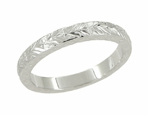 X and O Kisses Wheat Wedding Band in 14 Karat White Gold - Click to enlarge