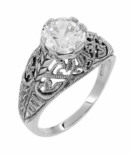 Antique Style Edwardian Filigree Engraved Cubic Zirconia ( CZ ) Ring in Sterling Silver - Click to enlarge