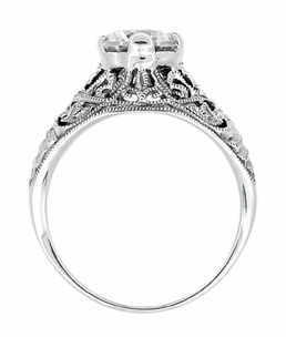Antique Style Edwardian Filigree Engraved Cubic Zirconia ( CZ ) Engagement Ring in Sterling Silver - Click to enlarge