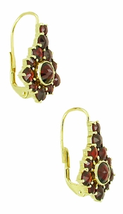 Victorian Bohemian Garnet Earrings in 14 Karat Yellow Gold and Sterling Silver Vermeil - Item E144 - Image 1