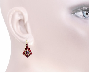 Victorian Bohemian Garnet Earrings in 14 Karat Yellow Gold and Sterling Silver Vermeil - Click to enlarge