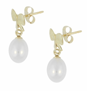 Mid-Century Bows and Pearls Drop Earrings in 14 Karat Yellow Gold - Click to enlarge