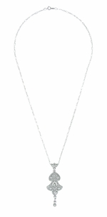 Edwardian Pearl Lavalier Drop Pendant Necklace in 14 Karat White Gold - Click to enlarge