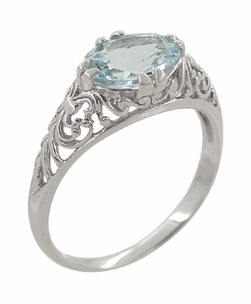 Edwardian Oval Aquamarine Filigree Engagement Ring in 14 Karat White Gold - Item R799A - Image 1