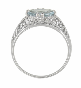 Edwardian Oval Aquamarine Filigree Engagement Ring in 14 Karat White Gold - Item R799A - Image 2