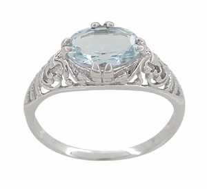 Edwardian Oval Aquamarine Filigree Engagement Ring in 14 Karat White Gold - Item R799A - Image 3