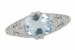 Edwardian Oval Aquamarine Filigree Engagement Ring in 14 Karat White Gold - Item R799A - Image 4