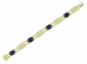 Art Deco Filigree Lapis Lazuli and Diamond Bracelet in 14 Karat Gold - Click to enlarge