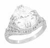 Art Deco Filigree Engraved Oval White Topaz Ring in Sterling Silver