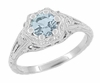 Art Deco Filigree Flowers Aquamarine Promise Ring in Sterling Silver