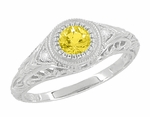 Art Deco Engraved Yellow Sapphire and Diamond Filigree Engagement Ring in Platinum