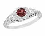 Art Deco Engraved Rhodolite Garnet and Diamond Filigree Engagement Ring in Platinum
