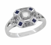 Art Deco Square Sapphires and Diamond Engraved Ring in Sterling Silver