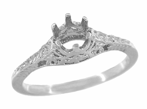 Art Deco 1/4 - 1/3 Carat Crown of Leaves Filigree Engagement Ring Setting in Platinum - Click to enlarge