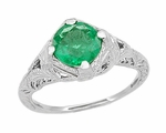 Art Deco Emerald Engraved Filigree Ring in Platinum