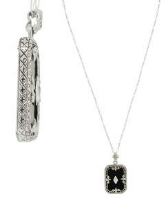 Art Deco Filigree Onyx Pendant Necklace with Diamond in 14 Karat White Gold - Item NV41 - Image 1