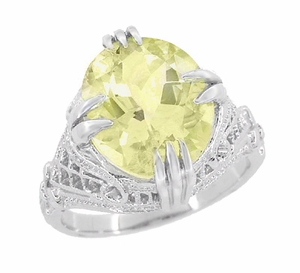 Art Deco Oval Filigree Lemon Quartz Statement Ring in Sterling Silver - Item SSR157LQ - Image 1