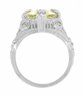 Art Deco Oval Filigree Lemon Quartz Statement Ring in Sterling Silver - Item SSR157LQ - Image 3