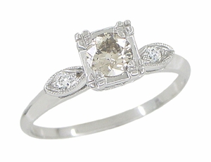 Retro Moderne 14 Karat White Gold Antique Diamond Engagement Ring - Click to enlarge