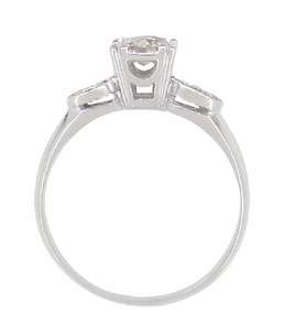 Retro Moderne 14 Karat White Gold Antique Diamond Engagement Ring - Item R445 - Image 2