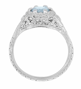 Art Deco Filigree Flowers Aquamarine Engagement Ring in 14 Karat White Gold - Item R706WA - Image 2