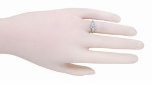 Art Deco Filigree Flowers Aquamarine Engagement Ring in 14 Karat White Gold - Click to enlarge