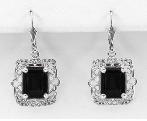 Art Deco Filigree Black Onyx Antique Style Earrings in Sterling Silver - Item E154ON - Image 1