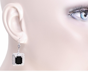 Art Deco Filigree Black Onyx Antique Style Earrings in Sterling Silver - Item E154ON - Image 2