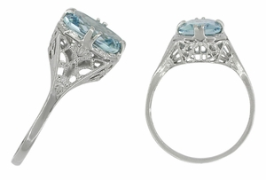 Art Deco Filigree Aquamarine Engagement Ring in 14 Karat White Gold - Click to enlarge