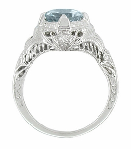 Art Deco Engraved Filigree Aquamarine Engagement Ring in 14 Karat White Gold - Item R161WA - Image 1