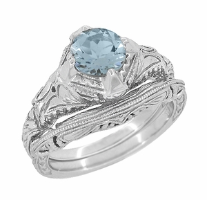 Art Deco Engraved Filigree Aquamarine Engagement Ring in 14 Karat White Gold - Click to enlarge
