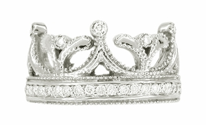 Royal Crown Ring in 18 Karat White Gold with Diamonds - Click to enlarge