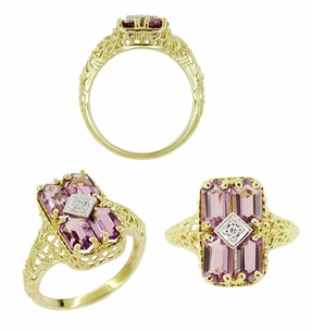 Amethyst and Diamond Filigree Ring in 14 Karat Gold - Click to enlarge